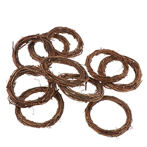 Hellery Round/Star/Heart Grapevine Wreath - Twigs Vine Wreath Craft Sets – Natural Dried Wood Branch Rattan Wreath Base Front Door Decoration DIY Materials - 10pcs round