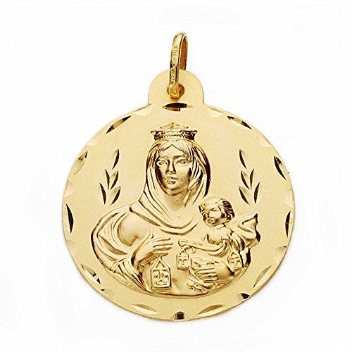 Medalla Oro 18K Virgen Del Carmen 28mm. Labrado Tallado [Aa2527Gr] - Personalizable - Grabación Incluida En El Precio