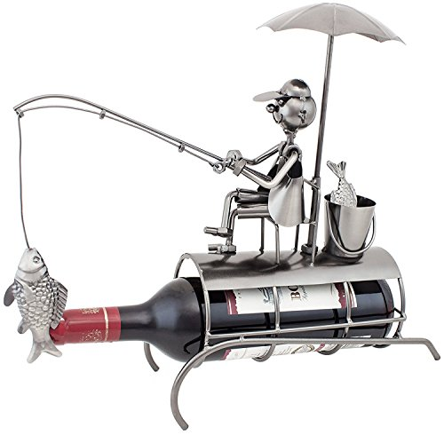 BRUBAKER Wine Bottle Holder Angler with Sunshade Metal Sculptures and Figurines Decor Wine Racks and Stands Gifts Decoration