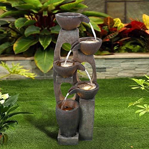 WATURE 101cm Moderne Outdoor-Brunnen - Entspannender Wasserbrunnen im Freien, Garten Wasserfall Brunnen mit LED-Lichts&Beruhigender Klang für drinnen und drauße, Haus&Büro (Braunes Kupfer, 101cm_2)