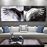 RONGTONG Black and White Wings Home Decor Canvas Painting Posters Angel Wings Picture for Living Room Decoration-50x150cm No Frame