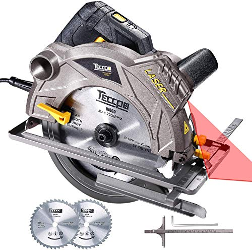TECCPO 12A 1500W Circular Saw with Laser, 5500 RPM Corded Saw ,Lightweight Aluminum Guard, Max Cutting Depth 2-1/2''(90°), 1-4/5''(45°), Scale Ruler,2 Blades(7-1/4