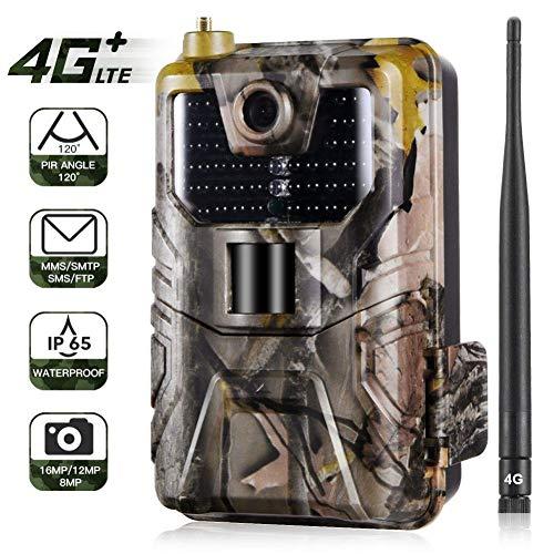 4G Wildkamera 16MP MMS Mit Bewegungsmelder Nachtsicht HandyüBertragung 120 ° Weitwinkelobjektiv 1080P Full HD Fotofallen GSM Jagdkamera 44IR LED IP65 Wasserdicht für Jagd, Garten und Tieren