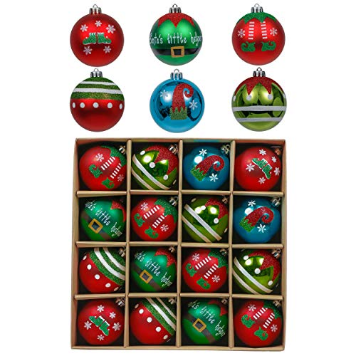 Valery Madelyn 16ct 80mm Christmas Ball Ornaments Delightful Elf, Large Shatterproof Colorful Elves Christmas Tree Ornaments Bulk Xmas Decoration Home Decor, Themed with Tree Skirt (Not Included)