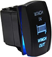 Winch In Out Momentary Rocker Toggle Switch 7Pin On/Off Blue LED Backlit Waterproof 20A 12V for Auto Motorcycle ATV UTV Polaris Ranger RZR XP Turbo Can Am Commander Maverick X3