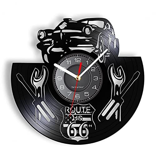 XYVXJ US Route 66 Reloj de Pared Decorativo Mother Road of America Herramientas mecánicas de Coche Reloj de Pared de Viaje Disco de Vinilo Craft