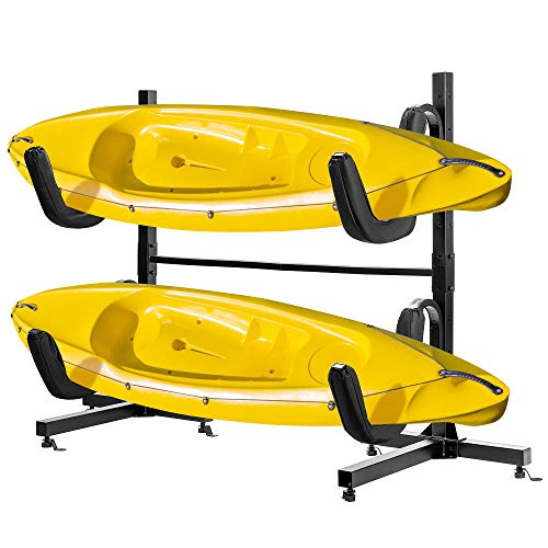 VIVOHOME Heavy Duty Freestanding Dual Storage Rack Height Adjustable Carrier Stand for Kayaks SUP paddle Boards and Canoes