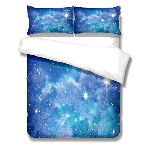 iCoCofly Bedding 3 Piece Set - Easy Care - 1 quilt cover with 2 Pillowcase& Shrinkage and Fade Resistant for Kids Teens and Adults Soft Microfiber Hypoallergenic Bedding Set - Beautiful starry sky