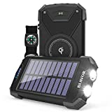 Solar Power Bank, Qi Portable Charger 10,000mAh External Battery Pack Type C Input Port Du...