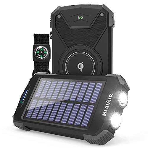 Solar Power Bank, Qi Portable Charger 10,000mAh External Battery Pack Type C Input Port Dual Flashlight, Compass, Solar Panel Charging (Black,10,000mAh)