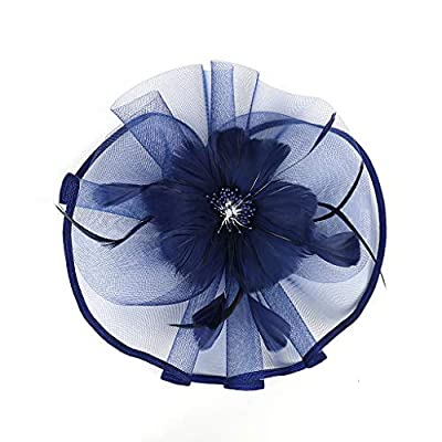 Women Feather Headpiece Hairband Vintage Flapper Headband Party Prom Costume Accessories Headdress Hat (Navy)