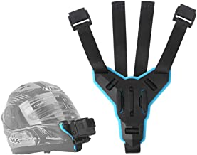 TELESIN Motorcycle Helmet Strap Mount Front Chin Mount for GoPro Hero 2018/6/5/4/3, Session, SJCAM, AKASO, Campark, Polaroid, Osmo Action ,YI Action Camera Helmet Mount Curved