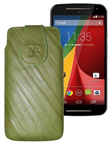 Suncase Tasche für / Motorola Moto G 4G LTE (2. Gen.) / Leder Etui Handytasche Ledertasche Schutzhülle Hülle Hülle / in wash-grün