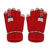 FakeFace Süße Kinder Fingerhandschuhe Gestrickte Handschuhe mit Katze Jungen Mädchen Winter Warme Strickhandschuhe Kinderhandschuhe (Rot-Bär)
