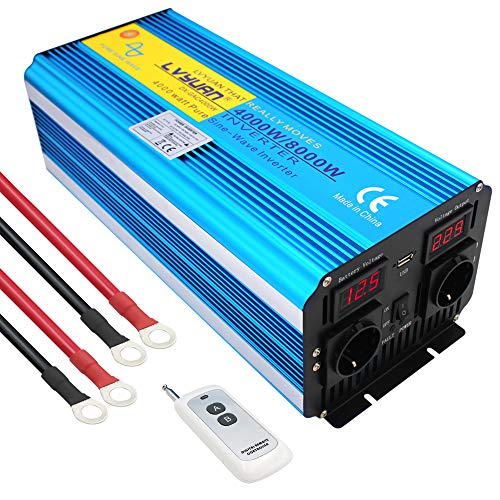 Cantonape Inversor de Corriente Onda Sinusoidal Pura 4000w 8000w Transformador de 12v a 220v 230v con Mando a Distancia & 2 Toma y Puertos USB 2 LED
