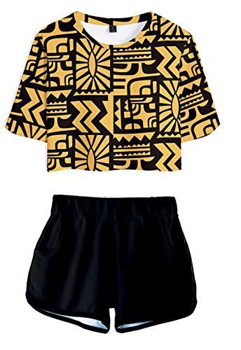 JOAYIN Femme Stranger Things T-Shirt et Short Imprimé en 3D Costume D'été de Mode Femme Pyjamas de Sport Crop Top Tee Shirt + Short 2 Pièces(L)
