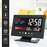 yunli LCD Color Screen Digital Backlight Snooze Alarm Clock Thermometer Weather Forecast Station Indoor Temperature Humidity Time Date Display wiith UBS Cable (Size:15.6x9.6x5.5cm)