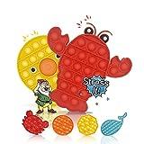 Push And Pop IT Bubble Sensory Fidget Toy, Giocattolo Sensoriale Anti Stress, Alleviare Ansia e Stress, Gioco educativo Autismo, Bolle di estrusione Colorful ,bambini adulti (Aragosta + Polpo)