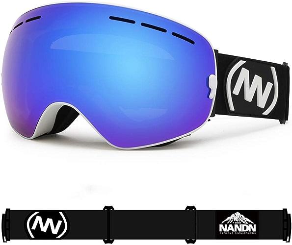 Lunettes de Ski, Double Anti-buée - Grandes Lunettes de Ski sphériques Hommes Femmes - Lunettes de Prougeection Simples Doubles - Peuvent être installées des Lunettes
