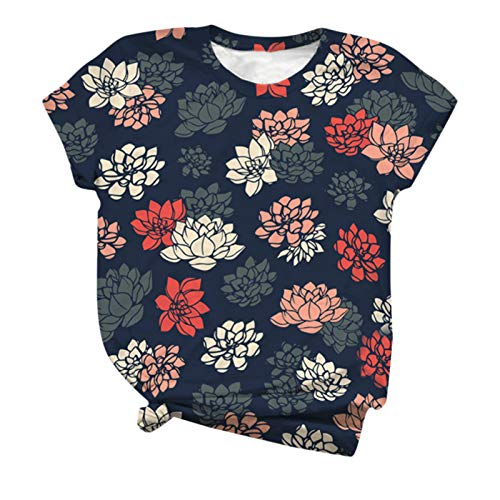YANFANG Blusa con Estampado de Flores de Manga Corta con Est