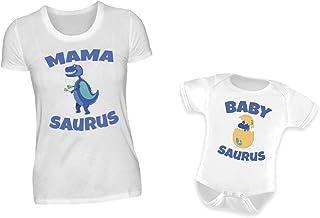 PlimPlom Mutter Baby Partnerlook Set T-Shirt Baby Body Strampler Mamasaurus & Babysaurus Rundhals Dinosaurier Mama & Sohn Oder Tochter Partneroutfit L & 0-6 Monate