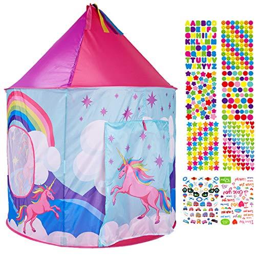 Mgee Tenda Bambini da Letto, Tende da Unicorno, Tenda Pop-Up, Casa Fantasia Bambini Portatile con Borsa da Trasportoo, Regalo di Natale di Compleanno (E-Unicorno)