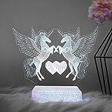 3D Art Unicorn Pegasus Acrílico Multicolor Luz de noche Dormitorio USB Base agrietada Decoración Luz de regalo