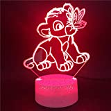 3D Illusion Lampe Led Nuit Lumière Le Roi Lion Joue Avec Papillons Animal Mignon Base Brillante Directement Upply Bureau Atmosphère