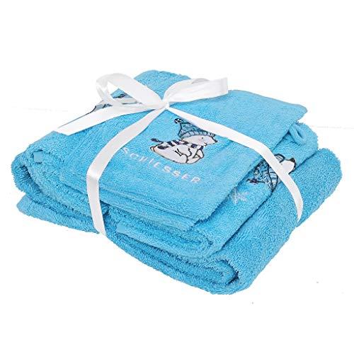 Schiesser Frottier Geschenkeset Baby Bearly, 100% Baumwolle, Farbe:blau