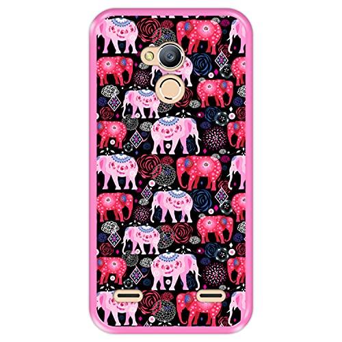 Hapdey Funda Rosa para [ ZTE Blade V7 Lite ] diseño [ Patrón Brillante de Elefantes Rosados y Rojos ] Carcasa Silicona Flexible TPU