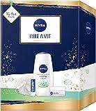 NIVEA Set de regalo de pequeño tiempo de descanso, set de cuidado con ducha de cuidado, cuidado diario, cuidado de labios y esponja de ducha, bonito regalo como agradecimiento.