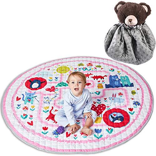 Winthome Tapis de jeu pour bébé - Rangement de jouets pour tapis de gymnastique en coton...