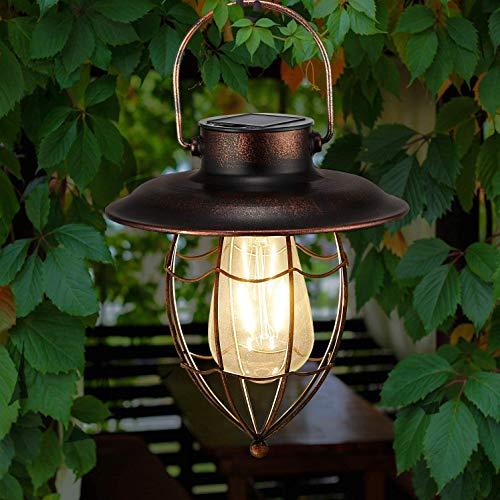 Solar Laterne Außen Hängend Metall Dekorative Garten Solarleuchten mit Edison Glühbirne, Wasserdichtes solarbetriebenes Licht für die Veranda Weg Terrasse Hof (Scharfe Unterseite)