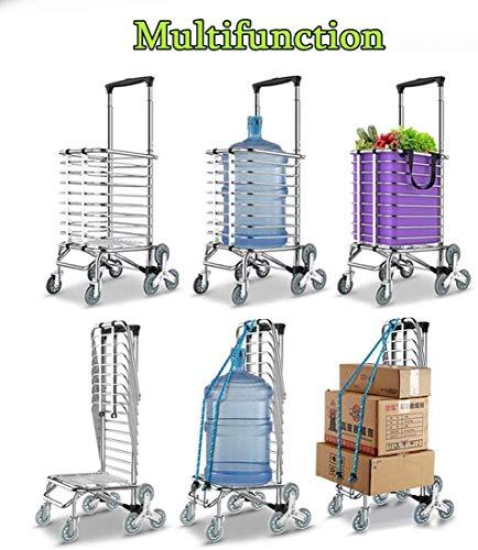 SLC Folding Warenkorb Trolley mit Rad Leichtbau Größere Speicher Aluminium Rahmen Dolly Grocery Dienstprogramm Climbing Carts zum Treppensteiger Ältere 528