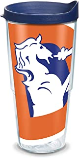 Tervis NFL Denver Broncos Colossal Legacy Wrap Tumbler with Navy Travel Lid, 24 oz, Clear -
