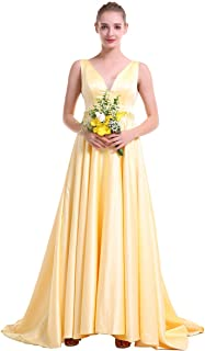 Long Prom Dress V-Neck Sleeveless Lace Up Back Sweep Train Asymmtrical Hem Evening Ball Gown Satin Wedding Partry Dress