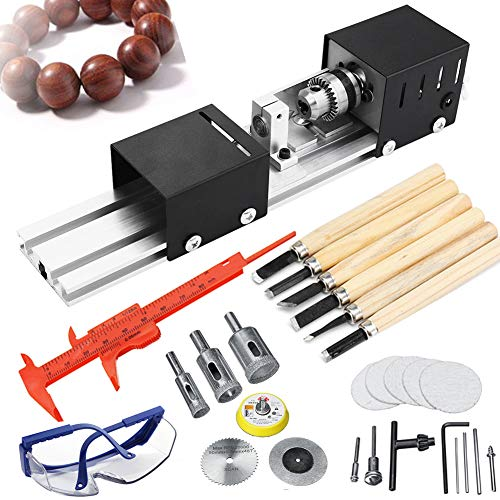 Mini Lathe Beads Polisher Machine + Lathe Chisels Set + Goggles ,7 Levels Cutting Speed DIY Woodworking Engraving Machine for Professionals or Hobbyist Wood Working