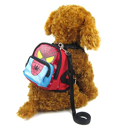 Alfie Pet - Oliga Backpack Harness with Leash Set - Pattern: Spiderman, Size: Small