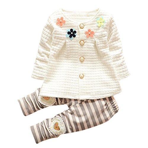 Goosuny Babyjäckchen + Lange Hosen, Kinder Mädchen Warm Langarm Mantel Schöne Herbst Jacken T Shirts Blume Cardigan Baumwolle Baby Bekleidung Kleidungssets(Weiß,80)