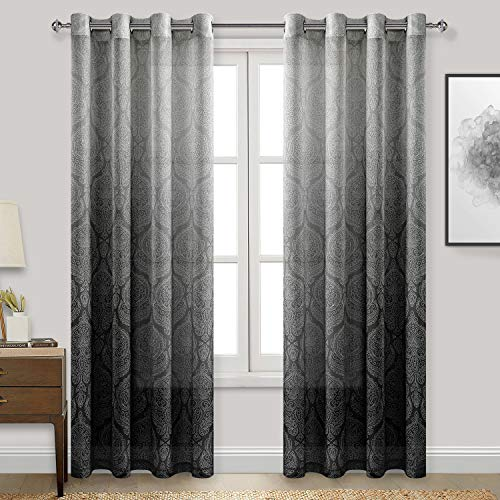 DWCN Black Faux Linen Ombre Sheer Curtains - Damask Gradient Grommet Voile Curtains for Bedroom Living Room, 52 x 84 inches Long, 2 Window Curtain Panels