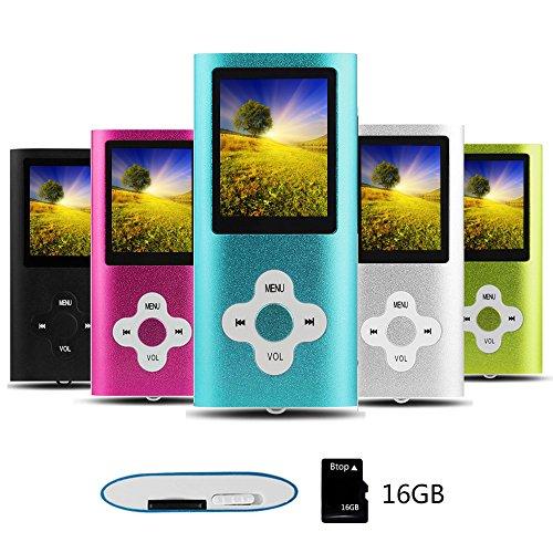 Btopllc Reproductor de MP3 Reproductor de MP4 Reproductor de música Digital Tarjeta de Memoria Interna de 16GB Reproductor de música portátil/Compacto MP3/MP4/Reproductor de Video(Blanco-en-Azul)