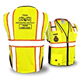 KwikSafety (Charlotte, NC) BIG KAHUNA PILOT Drone Safety Vest   Class 2 ANSI Compliant FAA Licensed 360° High Visibility Reflective UAG UAS Work Wear Hi Vis Certified Commercial Men   Yellow XL