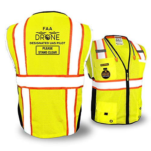 KwikSafety (Charlotte, NC) BIG KAHUNA PILOT Drone Safety Vest | Class 2 ANSI Compliant FAA Licensed 360° High Visibility Reflective UAG UAS Work Wear Hi Vis Certified Commercial Men | Yellow 2XL