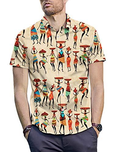 PIZOFF Men's Casual Short Sleeve Print Button Down Dress Shirt Y1936-02-L