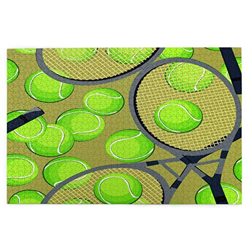 Minalo Rompecabezas de Imágenes 1000 Piezas,con Pelotas de Tenis y Raqueta,Regalo Ideal Gracioso Juego Familiar Decoración para el Hogar Colgante,29.5' x 19.7'