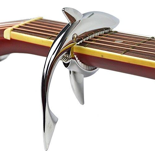 Shark Capo,Zinc Alloy Tone Clip for Acoustic,Folk,Electric Guitar and Ukulele (Silver)