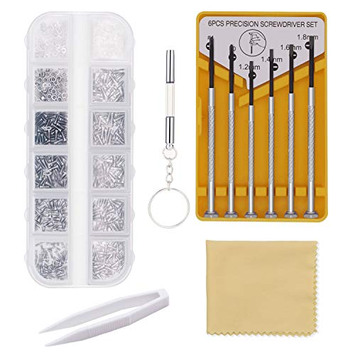 Eyeglass Repair Kit, Glasses Repair Tools with Glasses Screws, Precision Screwdriver kit, Cleaning Cloth and Tweezers, Suitable for Eyeglass, Mobile Phones, Watches