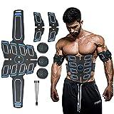 Electroestimulador Muscular Abdominales, EMS Electroestimulador Muscular Abdominales Cinturón, Pantalla LCD, USB Recargable, 6 Modos para Abdomen/Cintura/Pierna/Brazo,Negro,Set