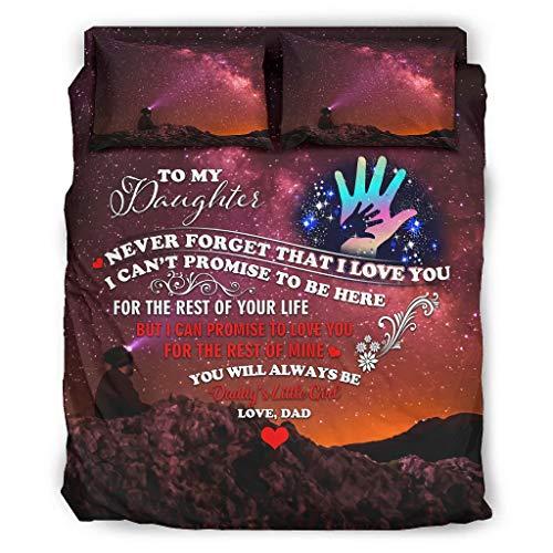 WellWellWell to My Daughter Starry - Juego de ropa de cama de 4 piezas con cremallera, incluye 1 funda nórdica y 1 funda de edredón y 2 fundas de almohada, color blanco, 228 x 264 cm