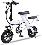 LAZNG Vélo électrique Pliant vélo électrique 12' for Adultes Hommes Ville commutant avec 48V 1.5Ah Batterie au Lithium 350W Haute Vitesse Moteur (Couleur : Blanc)